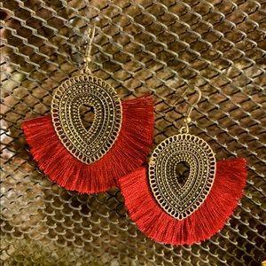 Tassel Earrings Burgundy Red Bronze Boho Fringe